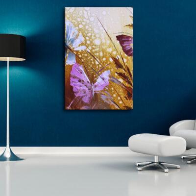 Модульная картина - Бабочки в траве для темного интерьера