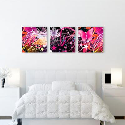 Модульная картина розовые бабочки, для светлого интерьера