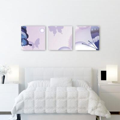 Модульные картины для светлой комнаты сиреневые с бабочками