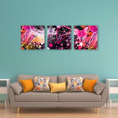 Модульная картина розовые бабочки, для зеленого интерьера