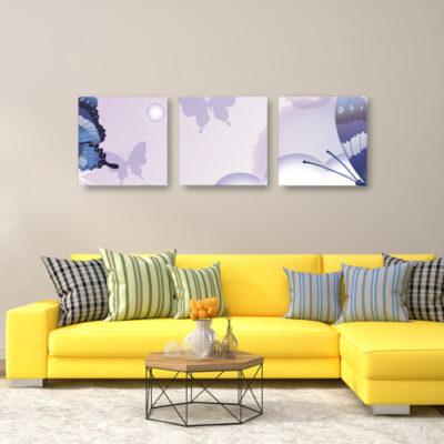 Модульные картины для коричневой комнаты сиреневые с бабочками