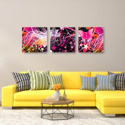 Модульная картина розовые бабочки, для светлой комнаты