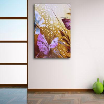 Модульная картина - Бабочки в траве для светлого интерьера