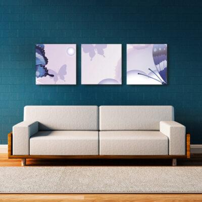 Модульные картины для темной комнаты сиреневые с бабочками