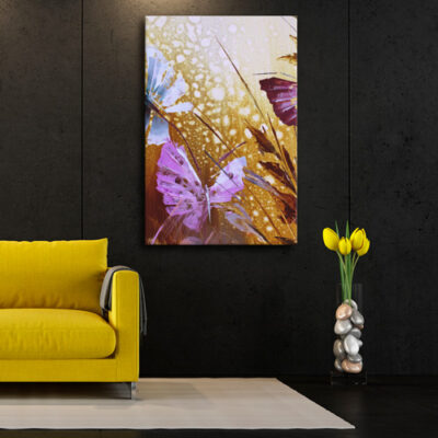 Модульная картина - Бабочки в траве для черной комнаты