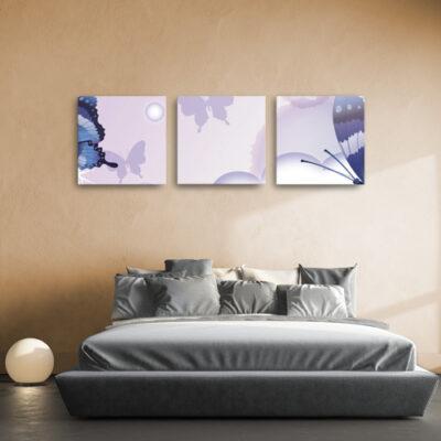 Модульные картины для бежевой комнаты сиреневые с бабочками