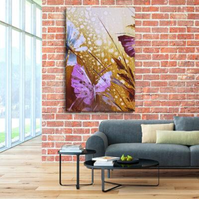 Модульная картина - Бабочки в траве для кирпичной комнаты