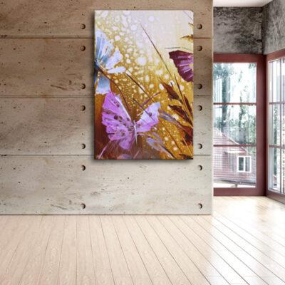 Модульная картина - Бабочки в траве для деревенского дома